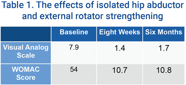Table 1. The effects of isolated hip abductor and external rotator strenghtening